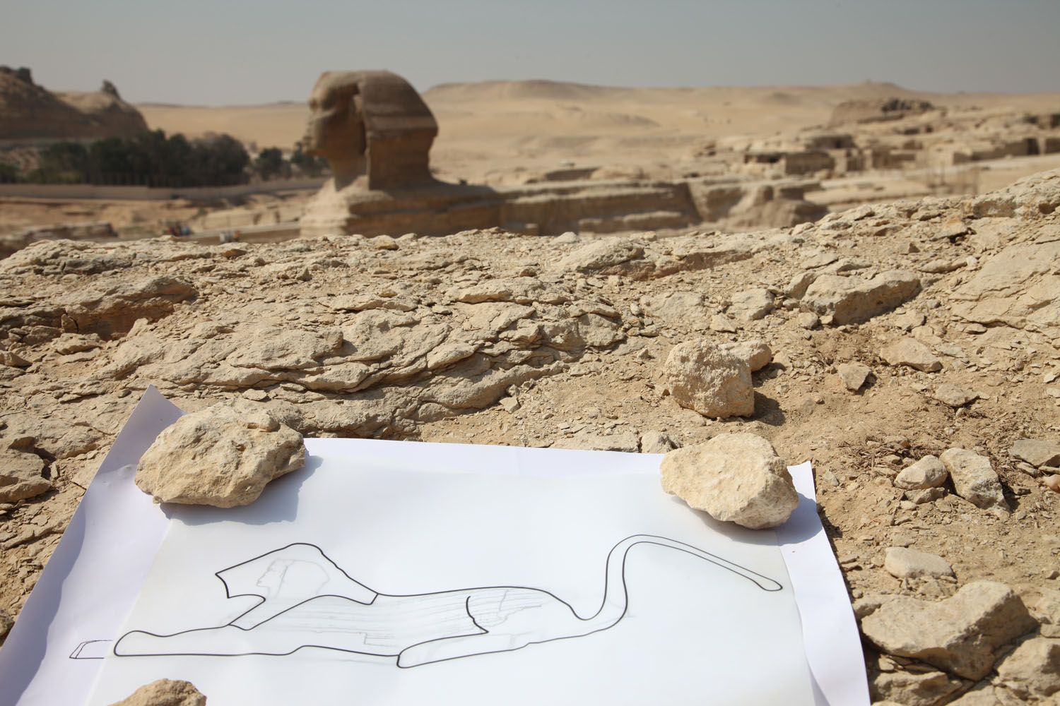 ancient outline and Sphinx